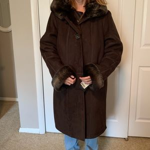 Gallery brown faux suede and faux sable lined coat